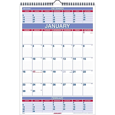 "2014 AT-A-GLANCE® Three-Month Wall Calendar, 15 1/2"" x 22 3/4"""