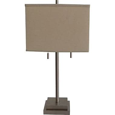 Fangio Incandescent/CFL Metal Table Lamp with Hardback Square Energy Shade, Brushed Steel