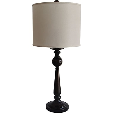 Fangio Incandescent/CFL Metal Table Lamp with Hardback Drum Energy Shade, Black Finish