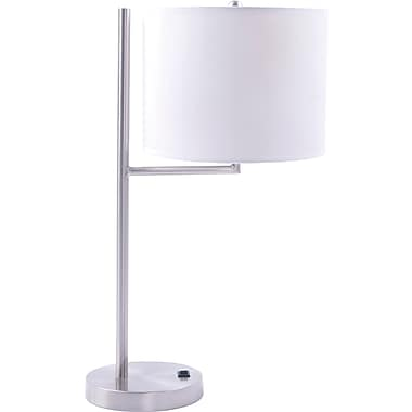 Fangio Incandescent/CFL Metal Table Lamp with Hardback Drum Energy Shade, Brushed Nickel Finish