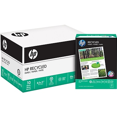 HP® 30% Recycled Copy Paper, 20 lb., 8-1/2
