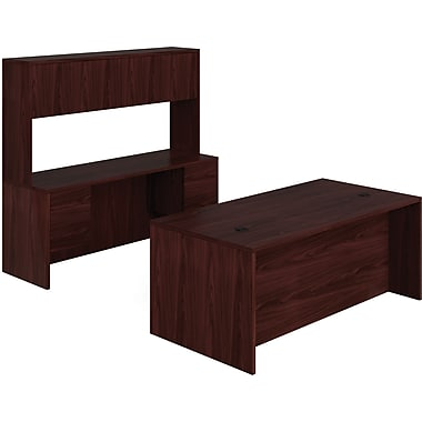 HON 10500 Series 60in. Office Bundle w/ Hutch, Mahogany