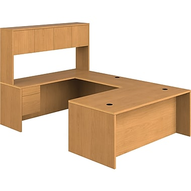 HON 10500 Series U-Shaped Office Desk w/ Hutch, 72in.W, Harvest