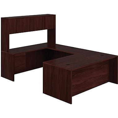 HON 10500 Series U-Shaped Office Desk w/ Hutch, 72in.W, Mahogany