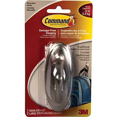 Command™ Faux Metal Decorative Hook, Large, 5-lb. Capacity
