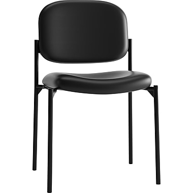 basyx by HON HVL606 Stacking Guest Chair, Black SofThread Leather