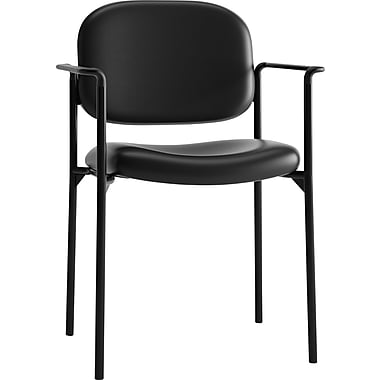 basyx by HON HVL616 Stacking Guest Chair, Black SofThread Leather