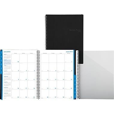 2014 Monthly Wire-bound Business Planner in Bonded Leather Cover, Black, 8in. x 11in.