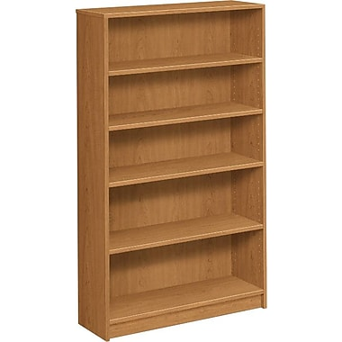HON® 1870 Series Wood Laminate Bookcase, 5-Shelf, Harvest