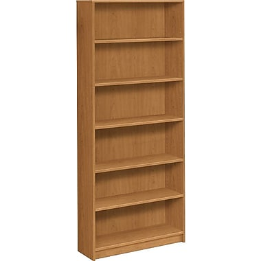 HON® 1870 Series Wood Laminate Tall Bookcase, 6-Shelf, Harvest