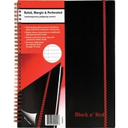 "Black n' Red™ Twin Wire Poly Cover Business Notebook, 8 1/2"" x 11"", Black (K66652)"