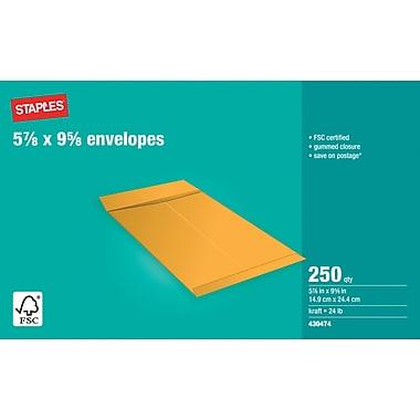 Staples® - Enveloppes Kraft pour catalogues, 5 7/8 po x 9 5/8 po, bte/250, gomm