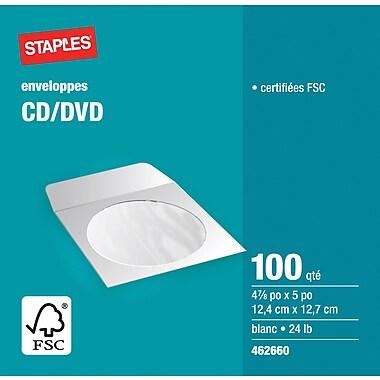 Staples® – Enveloppes blanches pour CD/DVD, 4 7/8 po x 5 po, bte/100