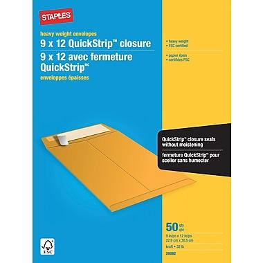 Staples® – Enveloppes kraft robustes, 9 po x 12 po, bte/50 - bande adhésive