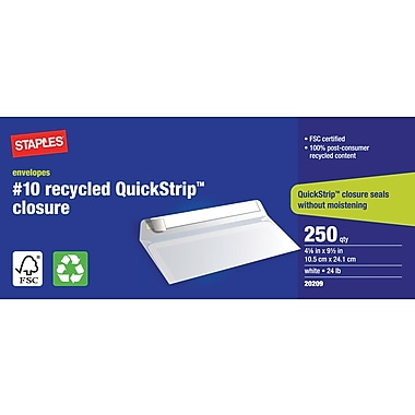 Staples® Envelopes White Recycled #10, 4-1/8