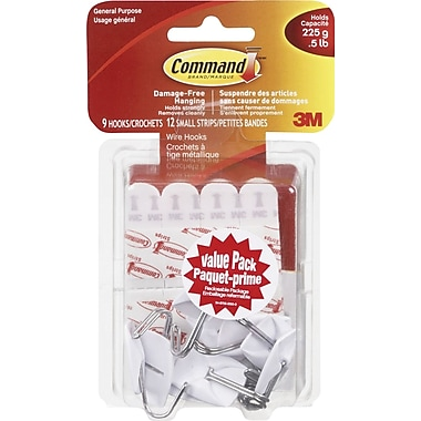 Command™ Small Wire Hooks, 9/Pack, 1/2-lb. Capacity