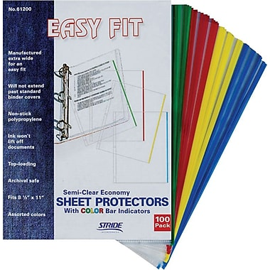 Stride Easy Fit Top-Loading Sheet Protectors with Color Bar Indicators, 8 1/2in. x 11in., 100/Case