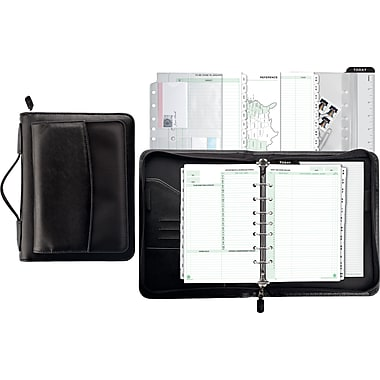 Day-Timer® Briefcase Binder Starter Set, Zip Closure, Black, Desk Size