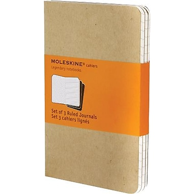 Moleskine Cahier Journal, Set of 3, Pocket, Ruled, Kraft Brown, Soft Cover, 3-1/2in. x 5-1/2in.