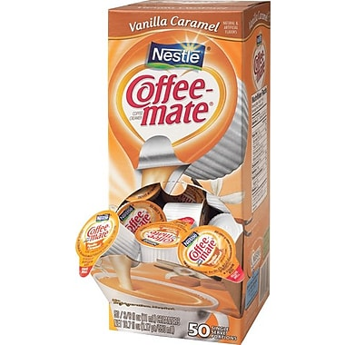 Nestlé Coffee-mate Liquid Coffee Creamer Singles, Vanilla Caramel Cream, 50/Box