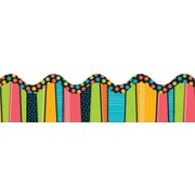 "Carson-Dellosa Publishing 108086 3' x 2.25"" Scalloped Dots Stylin' Stripes Border, Multicolor"