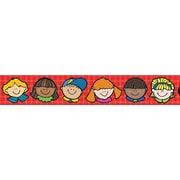 "Carson-Dellosa Publishing DJ Inkers 608032 3' x 3"" Straight Kids Happy Faces Border, Multicolor"