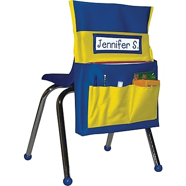 Carson-Dellosa Chairback Buddy™ Pocket, Blue with Yellow Pockets, All Grades