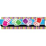 "Carson-Dellosa Publishing 108049 3' x 3"" Straight Handprints, Stripes Borders, Multicolor"