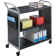 "Safco Scoot 38""H x 31""W x 18""D 3-Shelf Utility Cart Black (5339BL)"