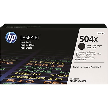 HP 504X Black Toner Cartridges (CE250XD), High Yield, 2/Pack
