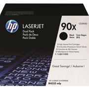 HP 90X Black Toner Cartridges (CE390XD) High Yield, Twin Pack