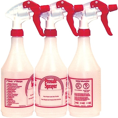 Prosafe Refillable Plastic Spray Bottles, 24 oz, 3/Pack
