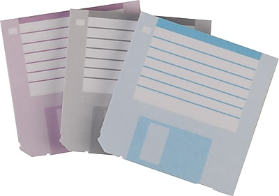 """""Staples Stickies 3"""""""" x 3"""""""" Floppy Disk Notes, Blue/Gray/Purple, 3/Pack (22967)"""""" 513050"