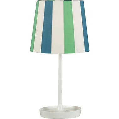 Kenroy Raya Incandescent Accent Table Lamp, Gloss White Finish with Blue and Green Striped Shade