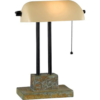 Kenroy Greenville Incandescent Banker's Lamp, Natural Slate