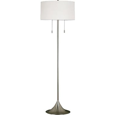 Kenroy Stowe Incandescent Floor Lamp, Brushed Steel Finish
