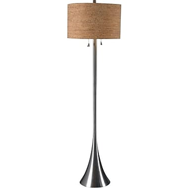 Kenroy Bulletin Incandescent Floor Lamp, Brushed Steel Finish