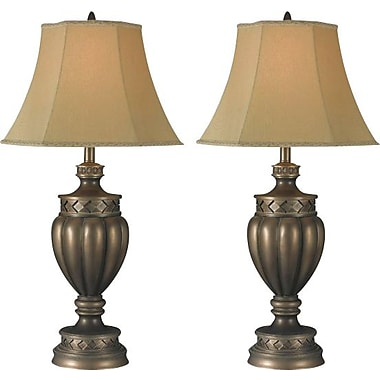 Kenroy Tristan Incandescent Table Lamps, Smoked Bronze Finish, 2/Pack