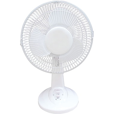 Optimus Personal Oscillating Table Fan, White, 9