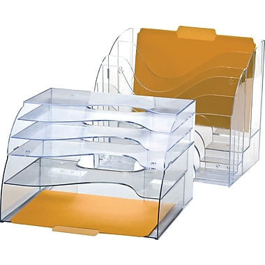 Officemate® Plastic 2-Way 5-Tier Desktop Organizer, Clear, 11 3/8