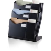 "Officemate® Grande Central Desktop File Sorter, 3 Compartments, Black, 18 1/4""H x 15 3/4""W x 9 1/2""D"