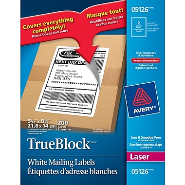Avery 5126 white laser shipping labels with trueblock 5 for Staples white mailing labels template