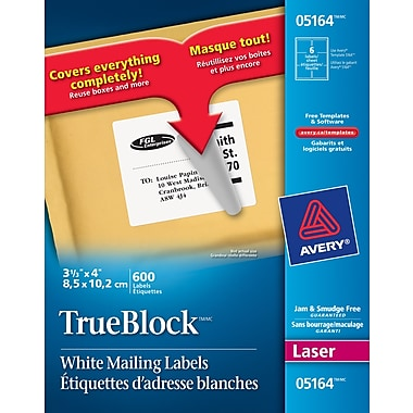 avery 5164 trueblock white laser shipping labels 4 x 3 1 3 600 pack staples