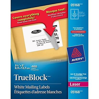 Avery 5168 trueblock white laser shipping labels 5 x 3 for Avery 5168 label template