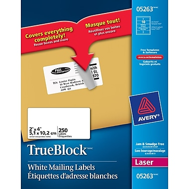 avery trueblock white laser shipping labels 4 x 2 250 pack 5263 staples