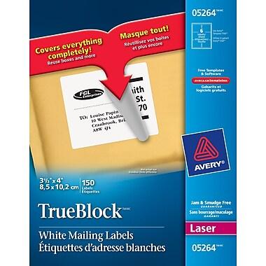avery trueblock white laser shipping labels 4 x 3 1 3 150
