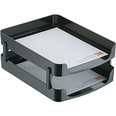oic 2200 series black plastic front load stacking letter trays wsupports