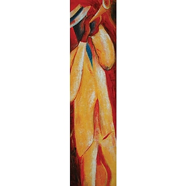 Hand Painted in.Musician Collection: Hornin. Gallery Wrapped Art, 12x32