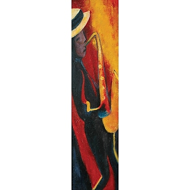 Hand Painted in.Musician Collection: Jazz Saxin. Gallery Wrapped Art, 12x32