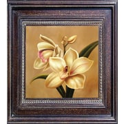 Hand Painted Orchid Framed Canvas Artwork, 21x21